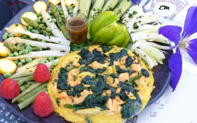 Omelette au saumon et légumes verts – Recette