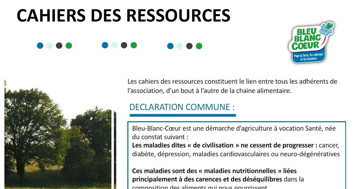 Cahier des ressources Bleu-Blanc-Coeur - version simplifiée