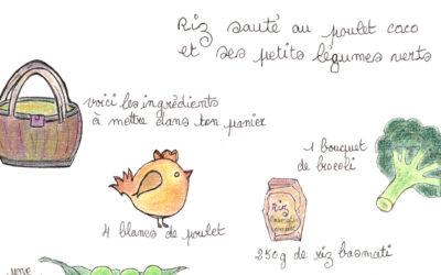 Riz sauté au poulet parfumé lait de coco et ses petits légumes verts fondants, une recette d'Estelle Marty