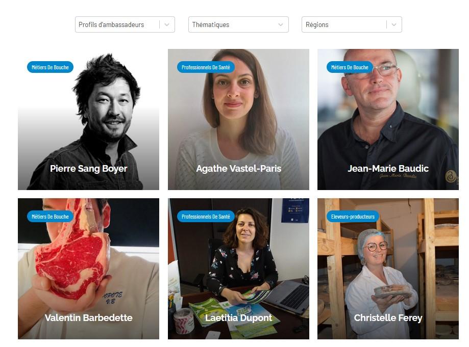 Portraits des ambassadeurs de Bleu-Blanc-Coeur